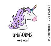 unicorns are real quote  vector ... | Shutterstock .eps vector #706143517