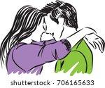 man and woman hugging an... | Shutterstock .eps vector #706165633
