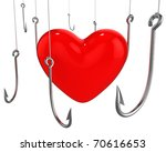 Many hooks trying to catch red heart isolated on white background - stock photo