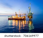 aerial view of tender drilling... | Shutterstock . vector #706169977