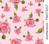 seamless pattern with a pink... | Shutterstock . vector #706173217