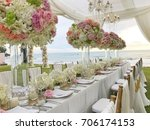 wedding set up. | Shutterstock . vector #706174153