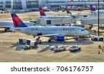 hdr image  delta airlines jet... | Shutterstock . vector #706176757