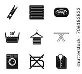 ironing icons set. simple style ... | Shutterstock .eps vector #706182823