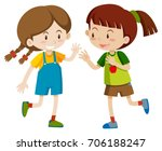 two happy girls playing... | Shutterstock .eps vector #706188247