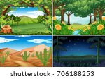 four scenes of forest and... | Shutterstock .eps vector #706188253