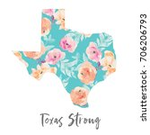cute floral texas artwork with... | Shutterstock . vector #706206793