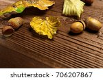 autumn leaves and acorns over... | Shutterstock . vector #706207867