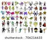 evil spooky monsters creatures... | Shutterstock .eps vector #706216633