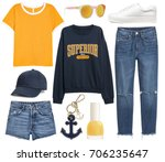 set of stylish clothes ... | Shutterstock . vector #706235647