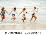 four attractive girls are... | Shutterstock . vector #706254547