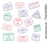 passport city names stamps set. ... | Shutterstock .eps vector #706269883