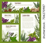 spices and herbs vector posters ... | Shutterstock .eps vector #706270987