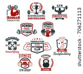 gym icons for bodybuilding or... | Shutterstock .eps vector #706271113