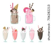 crazy milkshakes set. cute... | Shutterstock .eps vector #706282213