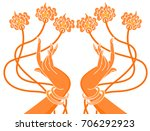 hand of the angel with flower... | Shutterstock .eps vector #706292923