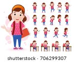 ready to use little girl... | Shutterstock .eps vector #706299307