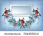 christmas card with photo frame ... | Shutterstock .eps vector #706305013