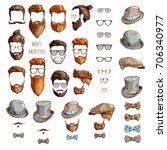 hipster set. beards  glasses ... | Shutterstock .eps vector #706340977