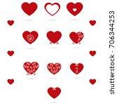 set of hearts in beautiful... | Shutterstock .eps vector #706344253