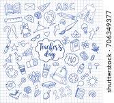 school and education doodles...   Shutterstock .eps vector #706349377