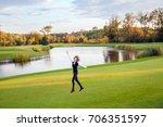 cute girl jumping and running...   Shutterstock . vector #706351597