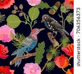 dark japanese garden. seamless... | Shutterstock .eps vector #706356373