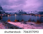 lofoten islands. norway in... | Shutterstock . vector #706357093