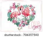 love story. lovely flamingo.... | Shutterstock .eps vector #706357543