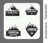mountain climbing logo badge | Shutterstock .eps vector #706382383