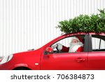 authentic santa claus driving... | Shutterstock . vector #706384873
