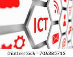 ict conceptual cell blurred... | Shutterstock . vector #706385713