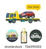evacuation vehicles. tow truck... | Shutterstock .eps vector #706390303