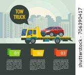 tow truck for transportation... | Shutterstock .eps vector #706390417