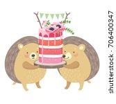 layered sweet sponge cake... | Shutterstock .eps vector #706400347