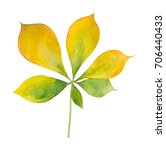 Autumn Green And Yellow Leaf O...