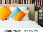 pillow on bed decoration... | Shutterstock . vector #706442497