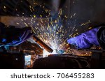 worker with protective mask... | Shutterstock . vector #706455283