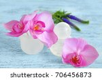 female deodorant and flowers on ... | Shutterstock . vector #706456873