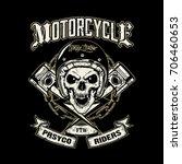 skull of biker in t shirt style ...   Shutterstock .eps vector #706460653