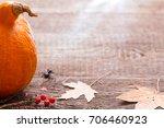 autumn pumpkin and leaves retro ...   Shutterstock . vector #706460923