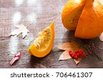 autumn pumpkin and leaves on...   Shutterstock . vector #706461307
