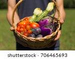 basket with vegetables ...   Shutterstock . vector #706465693