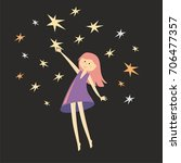 girl catches a stars. vector... | Shutterstock .eps vector #706477357