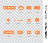like  follower  comment icons ... | Shutterstock .eps vector #706490347
