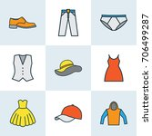 dress colorful outline icons... | Shutterstock .eps vector #706499287