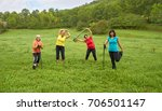 joyful active people doing... | Shutterstock . vector #706501147
