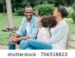 cheerful african american... | Shutterstock . vector #706518823