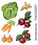 vegetables and fruits on white...   Shutterstock .eps vector #706522897