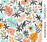 seamless pattern with wild... | Shutterstock .eps vector #706525177